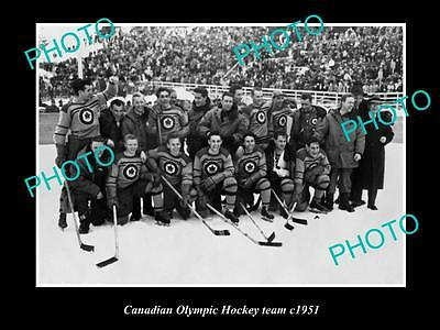 Old Large Historic Photo Of Canadian Mens Olympic Hockey Team 1951