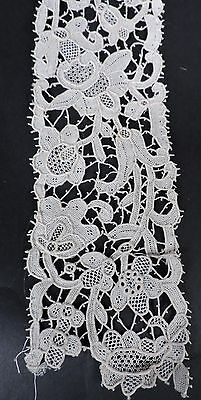 Antique Hand Made Floral Needle Lace Fragment Old Stock