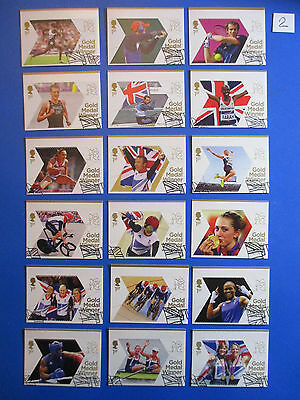 2012 GB Olympic Winners: Full set, 29 stamps from mini-sheets: used, ex-fdc #2