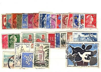 France - Stockcard of 30 Stamps - Used