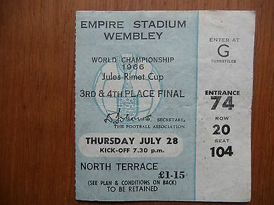 PORTUGAL SOVIET UNION 1966 World Cup 3rd 4th place TICKET Wembley Russia