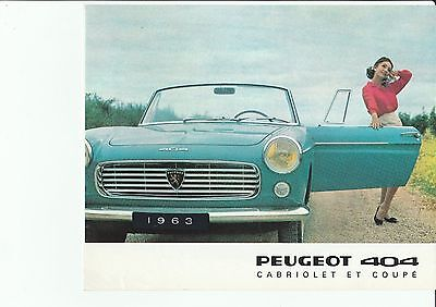 Peugeot 404 Cabriolet & Coupe Brochure Catalogue - 1963 - in French