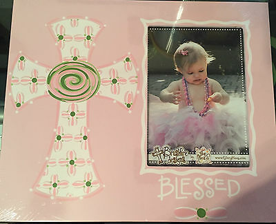 "NIP - Pink ""Blessed"" Cross Picture Frame for 4.5""x6.5"" photo"