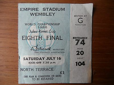 Original 1966 World Cup ENGLAND v MEXICO Ticket Wembley Seated North Terrace