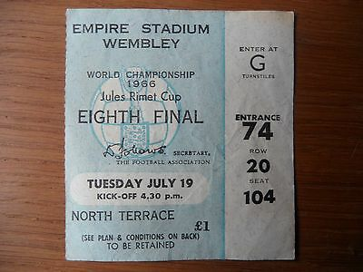 Original 1966 World Cup MEXICO v URUGUAY Ticket Wembley Seated North Terrace