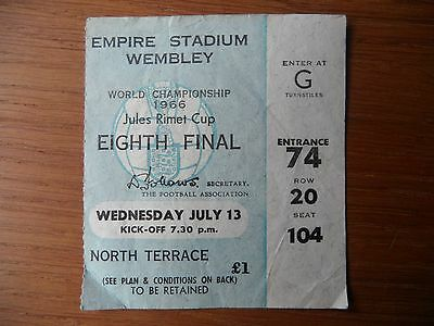 Original 1966 World Cup FRANCE v MEXICO Ticket Wembley Seated North Terrace