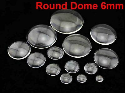 100 Transparent Round Flatback Glass Cabochon Dome 6mm No Hole