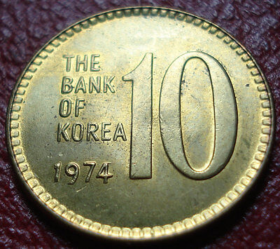 1974 South Korea 10 Won In Uncirculated Condition