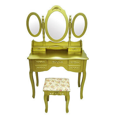Shabby Chic Dressing Table Makeup Desk with Stool 7 Drawers Oval 3 Mirrors Gold