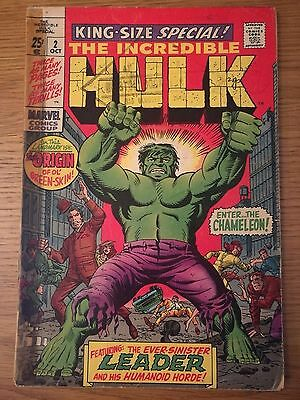 Incredible Hulk King-Size Special #2. 1969. Origin Retold Plus Other Stories