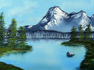 Landscape Oil Painting On Canvas - Mountain And Lake