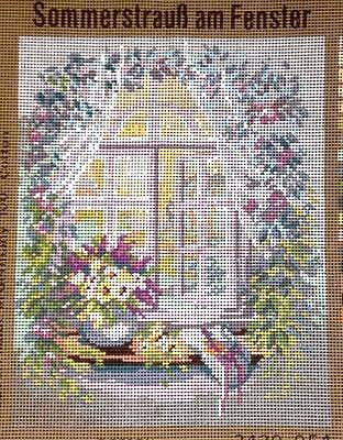 Monika Design Printed Tapestry Needlepoint Canvas Summer Bouquet at the Window