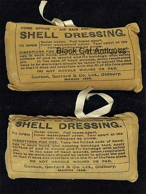2 1939 WWII Shell Dressings from England Home Office Air Raids Precautions Dept.