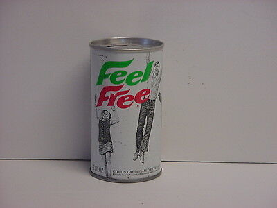 1970's Feel Free Citrus Steel Soda Can 12-oz Pull Tab Top Opened General Mills
