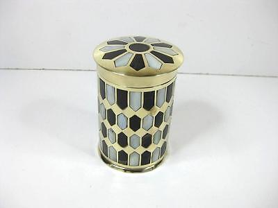 Lovely brass with inlay shell design, canisters, pot, trinket box cigarette box