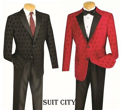 Men's Tuxedo Prom Wedding Groom Suit Classic Fit 2 Buttons Red & Black T-DV