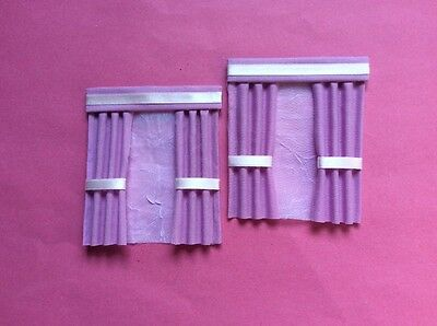 "2 Soft lavender dolls house curtains  3.5"" X 4"""