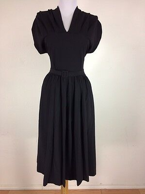 Vintage 1940s Black Dress Rayon WWII Gathered Bodice Cocktail Party S M