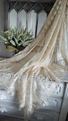 """Antique Fine Tambour Embroidered on French Net Tablecloth or Shawl 61x56"""" (ng)"""