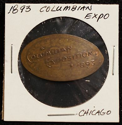 1893 Columbian Expo Chicago World's Fair 1880 Indian Head Penny Elongated Coin