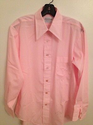 Vtg 70s  NOS Career Club Belgrave Sq Cotton Blend Button Front Shirt 151/2 34