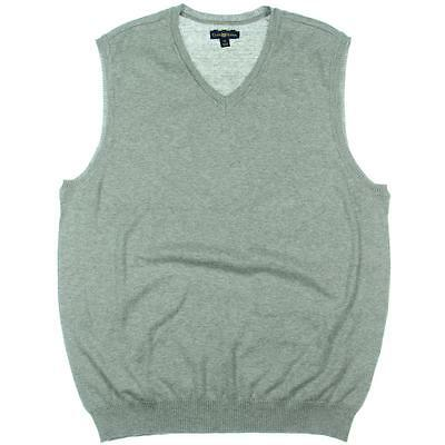 Club Room 2190 Mens Gray Ribbed Trim Cotton V-Neck Sweater Vest L BHFO