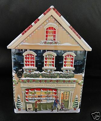 Harry London Embossed Chocolate Shop Collectible Christmas Town Tin (Empty)