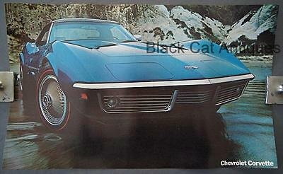 Original 1969 Corvette Stingray Poster, Sell Sheet, Info Over-sized 17 3/4 X 11