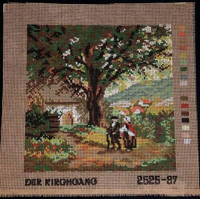 Monika Design Printed Tapestry Needlepoint Canvas The Church Tour Scenic Trees