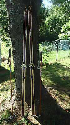VINTAGE  Wooden cross country 195 Skis  Signed SPLITKEIN   Poles