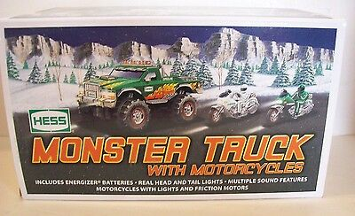 2007 HESS TOY MONSTER TRUCK with MOTORCYCLES  NEW IN THE ORIGINAL BOX