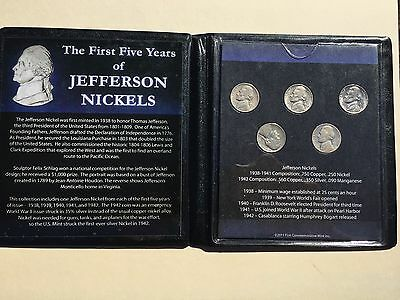 The First Five Years of Jefferson Nickels First Commemorative Mint Inc Set