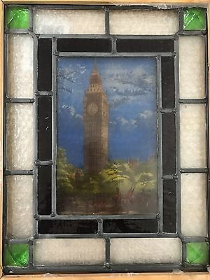 Vintage Victorian Style Architectural Litho Stained Glass Opaque Window Big Ben