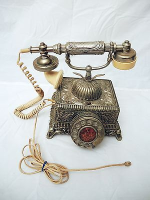 Vintage  French Style Rotary Phone  - Metal Base - Working