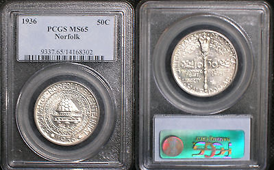 1936 NORFOLK BICENTENNIAL SILVER COMMEMORATIVE HALF DOLLAR PCGS MS65 Superb!!!