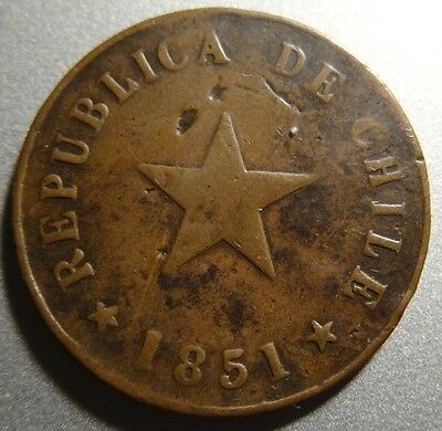 CHILE 1 Centavo 1851 Copper