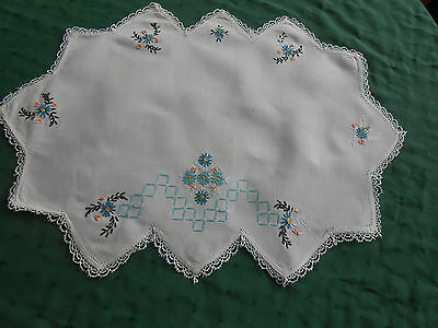 Beautiful White Linen Doily With Blue Hand Embroidered Flowers, Circa1930