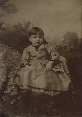 Tintype Photo T9   Pretty Young Girl In A Nice Dress - Beautiful Photo
