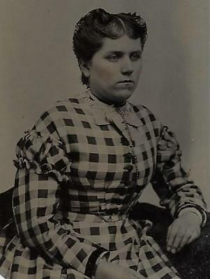 Tintype Photo #t79      Woman In Nice Checkered Dress