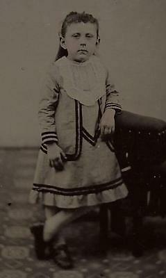 Tintype Photo #t86     Cute Young Girl In Nice Dress And Scene