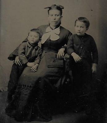 Tintype Photo #t80      Mother In Nice Dress With  Her 2 Boys