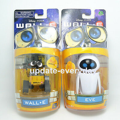 Set of 2pcs Wall-E and Eee-Vah EVE Disney Pixar Mini Action Figures NEW IN BOX