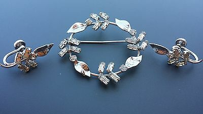 Sterling Silver D'OR Brooch and Matching Screw Back Earrings Clear Rhinestones