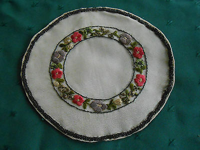 Hand Made Vintage Doily With Beautiful Hand Embroidered Silk Flowers, Circa1915