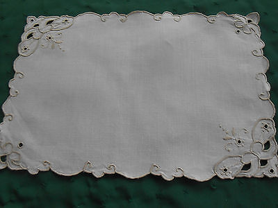 Lovely White Linen Doily With Light Tan Open Work Hand Embroidery, Circa 1930