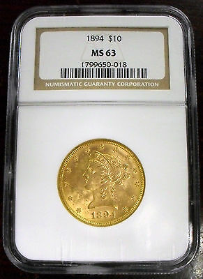 1894 $10 Gold Liberty NGC MS63, Free Shipping