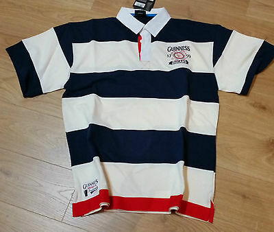 New Guinness Rugby S/S Shirt  Navy/Cream/Red 100% Cotton Size XL Free P&P