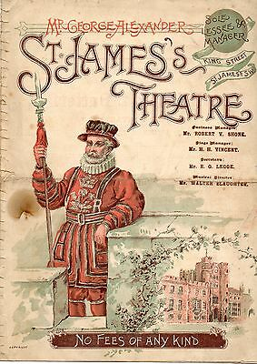 St James's 190? Programme. 'the Princess And The Butterfly' H Irving.