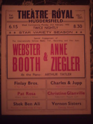 Huddersfield Theatre Royal 1955 'variety' Anne Ziegler Box Office Card.