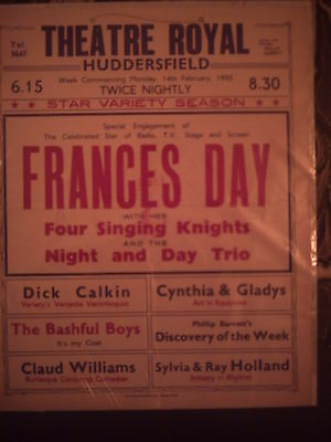Huddersfield Theatre Royal 1955 'variety' Frances Day Box Office Card.